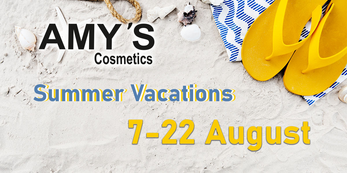 AMY'S Cosmetics. Καλοκαιρινές διακοπές 7-22 Αυγούστου